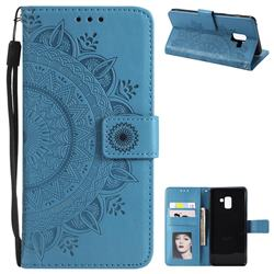Intricate Embossing Datura Leather Wallet Case for Samsung Galaxy A8+ (2018) - Blue