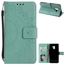 Intricate Embossing Datura Leather Wallet Case for Samsung Galaxy A8+ (2018) - Mint Green