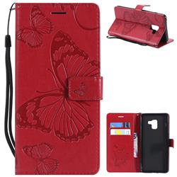Embossing 3D Butterfly Leather Wallet Case for Samsung Galaxy A8+ (2018) - Red
