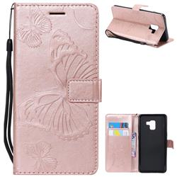 Embossing 3D Butterfly Leather Wallet Case for Samsung Galaxy A8+ (2018) - Rose Gold