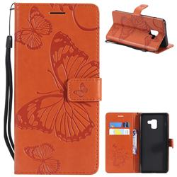 Embossing 3D Butterfly Leather Wallet Case for Samsung Galaxy A8+ (2018) - Orange