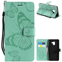 Embossing 3D Butterfly Leather Wallet Case for Samsung Galaxy A8+ (2018) - Green