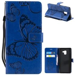 Embossing 3D Butterfly Leather Wallet Case for Samsung Galaxy A8+ (2018) - Blue