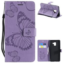 Embossing 3D Butterfly Leather Wallet Case for Samsung Galaxy A8+ (2018) - Purple