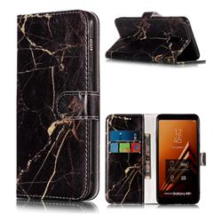 Black Gold Marble PU Leather Wallet Case for Samsung Galaxy A8+ (2018)