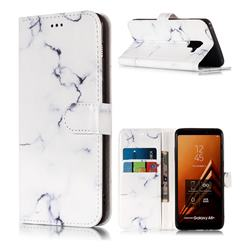 Soft White Marble PU Leather Wallet Case for Samsung Galaxy A8+ (2018)