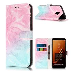 Pink Green Marble PU Leather Wallet Case for Samsung Galaxy A8+ (2018)