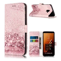 Glittering Rose Gold PU Leather Wallet Case for Samsung Galaxy A8+ (2018)