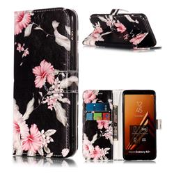 Azalea Flower PU Leather Wallet Case for Samsung Galaxy A8+ (2018)