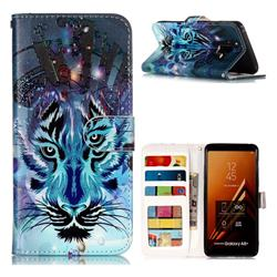 Ice Wolf 3D Relief Oil PU Leather Wallet Case for Samsung Galaxy A8+ (2018)