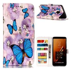 Purple Flowers Butterfly 3D Relief Oil PU Leather Wallet Case for Samsung Galaxy A8+ (2018)