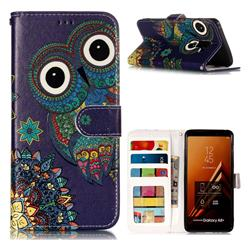 Folk Owl 3D Relief Oil PU Leather Wallet Case for Samsung Galaxy A8+ (2018)