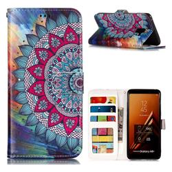 Mandala Flower 3D Relief Oil PU Leather Wallet Case for Samsung Galaxy A8+ (2018)