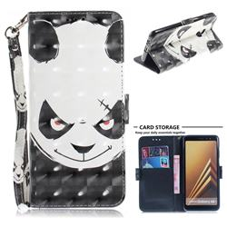 Angry Bear 3D Painted Leather Wallet Phone Case for Samsung Galaxy A8+ (2018)