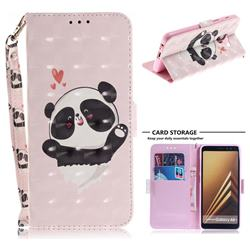 Heart Cat 3D Painted Leather Wallet Phone Case for Samsung Galaxy A8+ (2018)