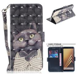 Cat Embrace 3D Painted Leather Wallet Phone Case for Samsung Galaxy A8+ (2018)