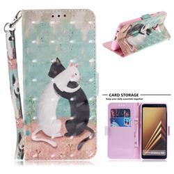 Black and White Cat 3D Painted Leather Wallet Phone Case for Samsung Galaxy A8+ (2018)