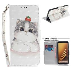 Cute Tomato Cat 3D Painted Leather Wallet Phone Case for Samsung Galaxy A8+ (2018)