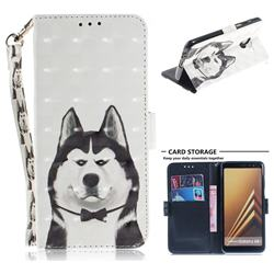 Husky Dog 3D Painted Leather Wallet Phone Case for Samsung Galaxy A8+ (2018)