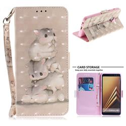 Three Squirrels 3D Painted Leather Wallet Phone Case for Samsung Galaxy A8+ (2018)