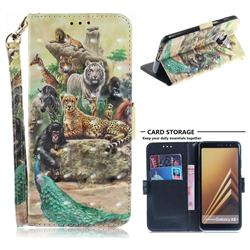 Beast Zoo 3D Painted Leather Wallet Phone Case for Samsung Galaxy A8+ (2018)