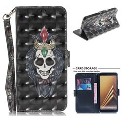 Skull Cat 3D Painted Leather Wallet Phone Case for Samsung Galaxy A8+ (2018)