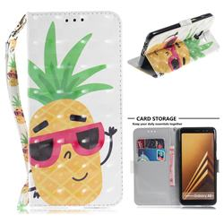 Pineapple Glasses 3D Painted Leather Wallet Phone Case for Samsung Galaxy A8+ (2018)