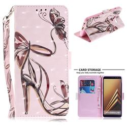 Butterfly High Heels 3D Painted Leather Wallet Phone Case for Samsung Galaxy A8+ (2018)