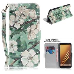 Watercolor Flower 3D Painted Leather Wallet Phone Case for Samsung Galaxy A8+ (2018)
