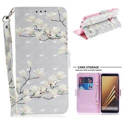 Magnolia Flower 3D Painted Leather Wallet Phone Case for Samsung Galaxy A8+ (2018)