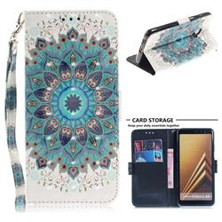 Peacock Mandala 3D Painted Leather Wallet Phone Case for Samsung Galaxy A8+ (2018)