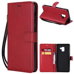 Retro Greek Classic Smooth PU Leather Wallet Phone Case for Samsung Galaxy A8+ (2018) - Red