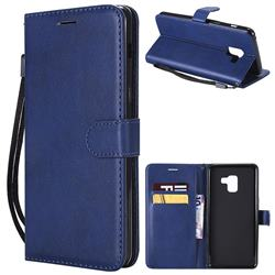 Retro Greek Classic Smooth PU Leather Wallet Phone Case for Samsung Galaxy A8+ (2018) - Blue