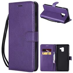Retro Greek Classic Smooth PU Leather Wallet Phone Case for Samsung Galaxy A8+ (2018) - Purple