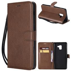 Retro Greek Classic Smooth PU Leather Wallet Phone Case for Samsung Galaxy A8+ (2018) - Brown