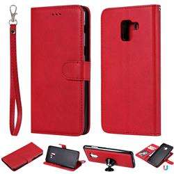 Retro Greek Detachable Magnetic PU Leather Wallet Phone Case for Samsung Galaxy A8+ (2018) - Red
