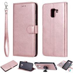 Retro Greek Detachable Magnetic PU Leather Wallet Phone Case for Samsung Galaxy A8+ (2018) - Rose Gold