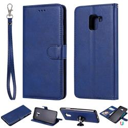 Retro Greek Detachable Magnetic PU Leather Wallet Phone Case for Samsung Galaxy A8+ (2018) - Blue