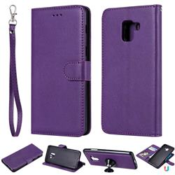 Retro Greek Detachable Magnetic PU Leather Wallet Phone Case for Samsung Galaxy A8+ (2018) - Purple