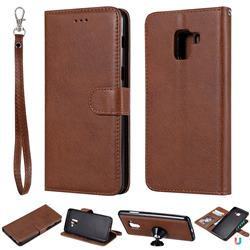 Retro Greek Detachable Magnetic PU Leather Wallet Phone Case for Samsung Galaxy A8+ (2018) - Brown