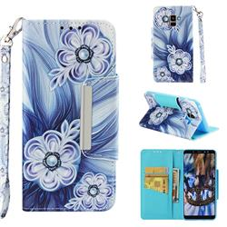 Button Flower Big Metal Buckle PU Leather Wallet Phone Case for Samsung Galaxy A8+ (2018)