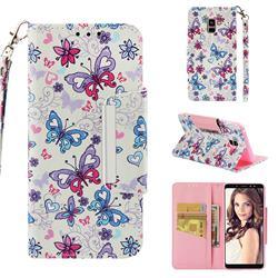 Colored Butterfly Big Metal Buckle PU Leather Wallet Phone Case for Samsung Galaxy A8+ (2018)