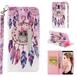 Owl Wind Chimes Big Metal Buckle PU Leather Wallet Phone Case for Samsung Galaxy A8+ (2018)