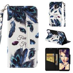 Peacock Feather Big Metal Buckle PU Leather Wallet Phone Case for Samsung Galaxy A8+ (2018)