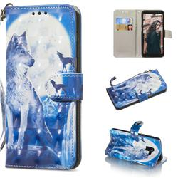 Ice Wolf 3D Painted Leather Wallet Phone Case for Samsung Galaxy A8+ (2018)