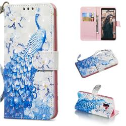 Blue Peacock 3D Painted Leather Wallet Phone Case for Samsung Galaxy A8+ (2018)
