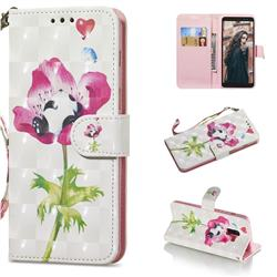Flower Panda 3D Painted Leather Wallet Phone Case for Samsung Galaxy A8+ (2018)