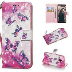 Pink Butterfly 3D Painted Leather Wallet Phone Case for Samsung Galaxy A8+ (2018)