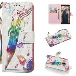 Music Pen 3D Painted Leather Wallet Phone Case for Samsung Galaxy A8+ (2018)