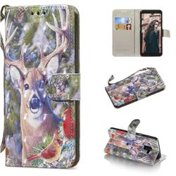 Elk Deer 3D Painted Leather Wallet Phone Case for Samsung Galaxy A8+ (2018)